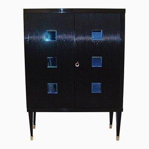 Mid-Century Italian Black and Blue Cabinet, 1950s