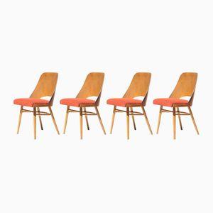 Tschechische Orangenfarbene Mid-Century Esszimmerstühle, 1960er, 4er Set
