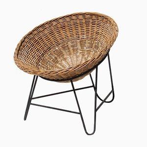 Französischer Mid-Century Stuhl aus Rattan, 1950er