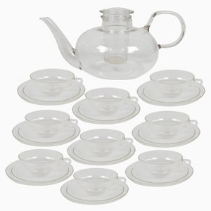 Vintage Clear Glass Tea Service by Wilhelm Wagenfeld for Jena