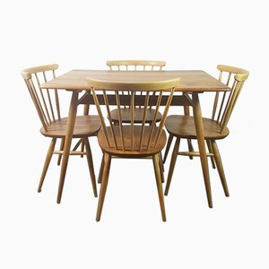Breakfast Table & 4 Windsor Bow Top Chairs by Lucian Ercolani for Ercol, 1960s