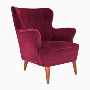 Burgundy Velvet Lounge Chair by Theo Ruth for Artifort, 1950s