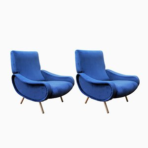 Mid-Century Royal Blue Lady Easy Chairs by Marco Zanuso for Arflex, Set of 2