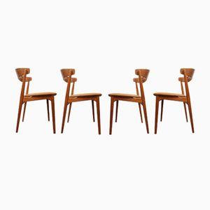 Vintage Stühle aus Teak und Leder, 1950er, 4er Set