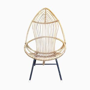 French Wicker Armchair, 1960s