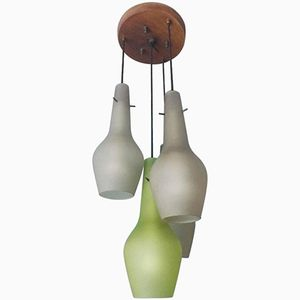 Mid-Century Italian Chandelier with Four Opaline Glass Diffusers from Stilnovo, 1960s