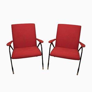 Red Italian Mid-Century Armchairs, 1960s, Set of 2