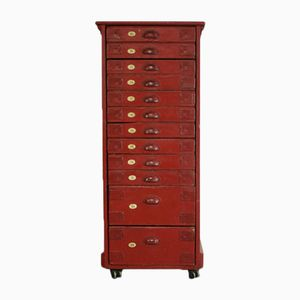Vintage Red Painted Numbered Plan Chest With Filing Drawers