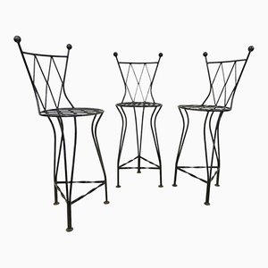 buy vintage stools at pamono American Art Deco italian vintage iron bar stools 1970s set of 3