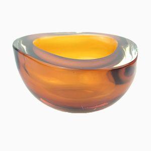 Brocca in vetro di Murano arancione e marrone di Mandruzzato, anni '60