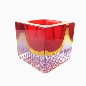 Brocca in vetro di Murano rosso e giallo, anni '60