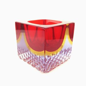Murano Glasgefäß in Rot, Gelb und Klarglas, 1960er