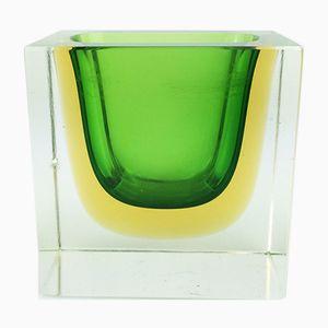 Murano Glasgefäß in Grün, Gelb und Klarglas, 1960er