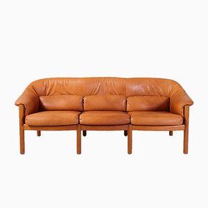 Dänisches Vintage Drei-Sitzer Ledersofa