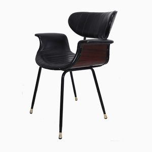 Mid-Century Rosewood and Leather Side Chair, 1950s