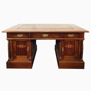 Antiker Jugendstil Schreibtisch mit Leder Schreibauflage