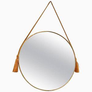 Italienischer Mid-Century Spiegel aus Messing und Goldfarbenem Seil mit Fransen, 1960er