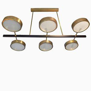 Italienischer Mid-Century Messing & Stahl Kronleuchter mit Sechs Leuchten, 1960er