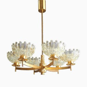 Mid-Century Six-Armed Gold-Plated Chandelier