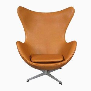 Leder Egg Chair von Arne Jacobsen für Fritz Hansen, 1970er
