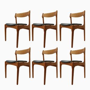 Vintage Danish Teak Dining Chairs by Erik Buch for O.D, Set of 6