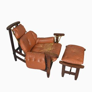 Chaise Captain's Vintage avec Ottomane par Jean Gillon pour Italma Wood Art