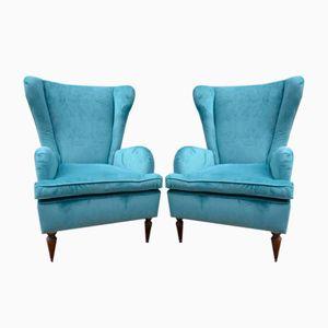 Vintage Blue Italian Armchairs, Set of 2