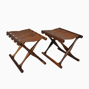 Mid-Century Guldhøj Rosewood Folding Stools from Poul Hundevad, Set of 2