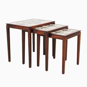 Scandinavian Rio Rosewood Nesting Tables with Ceramic Tiles, 1950s