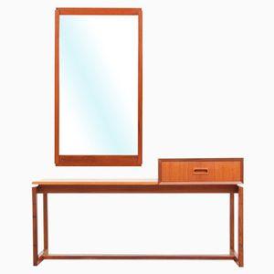 Mid-Century Scandinavian Teak Bench & Mirror, 1960s
