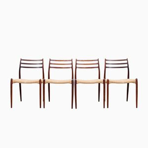 No. 78 Scandinavian Rosewood Chairs by Niels O. Møller, 1950s, Set of 4