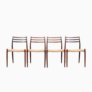 Skandinavische Palisander Nr. 78 Stühle von Niels O. Møller, 1950er, 4er Set