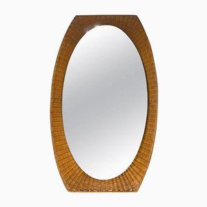 Specchio con cornice in vimini, Italia, anni '60