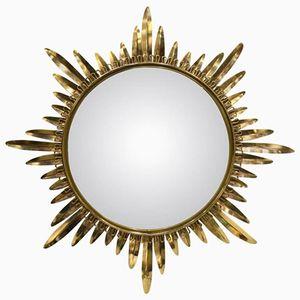 Specchio a forma di sole Mid-Century in ottone, anni '60
