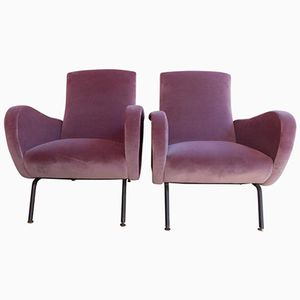Italian Purple Velvet Armchairs by Osvaldo Borsani, 1960s, Set of 2