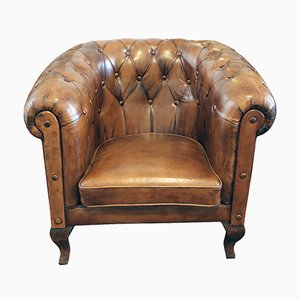 Art Deco Chesterfield Ledersessel