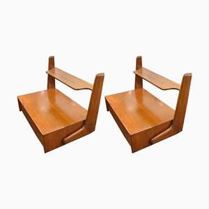 Mid-Century Modern Italian Wooden Nightstands by Ico Parisi, 1960s, Set of 2