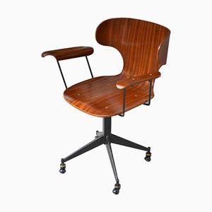Italienischer Vintage Holz Bürostuhl von Carlo Ratti, 1960er