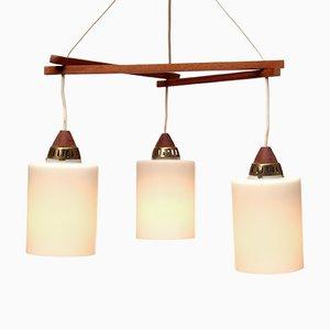 Lampe à Suspension Triangle en Teck, 1960s