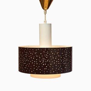 Lampe à Suspension Perforée en Opaline, 1950s