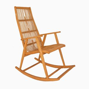 vintage wooden rocking chair 1950s - Wood Rocking Chair