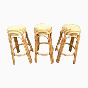 Wicker Stools by Adrien Audoux and Frida Minet, 1960s, Set of 3