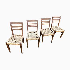 Beige-braune Korbgeflecht Stühle von Adrien Audoux & Frida Minet, 1960er, 4er Set