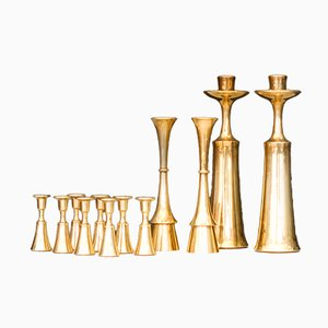 Small Brass Candle Holders by Jens Harald Quistgaard for Dansk Design, 1960s, Set of 12