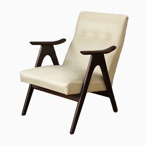 Vintage Dutch Armchair in White Skai