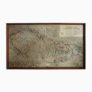 Relief Karte der Ehemaligen Tschechoslowakischen Sozialistischen Republik, 1969