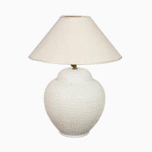 Vintage White Ceramic Hobnail Jar-Form Lamp