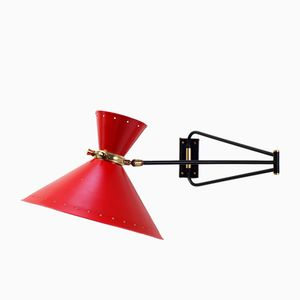 French Diabolo Wall Lamp by René Mathieu for Lunel, 1950s