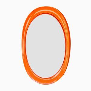 Specchio ovale arancione di Collezione Salc, Italia, anni '70