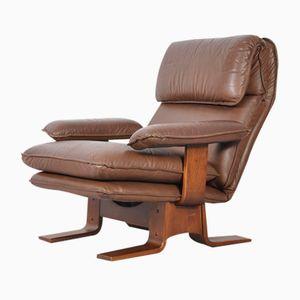 Vintage Danish Brown Leather Armchair